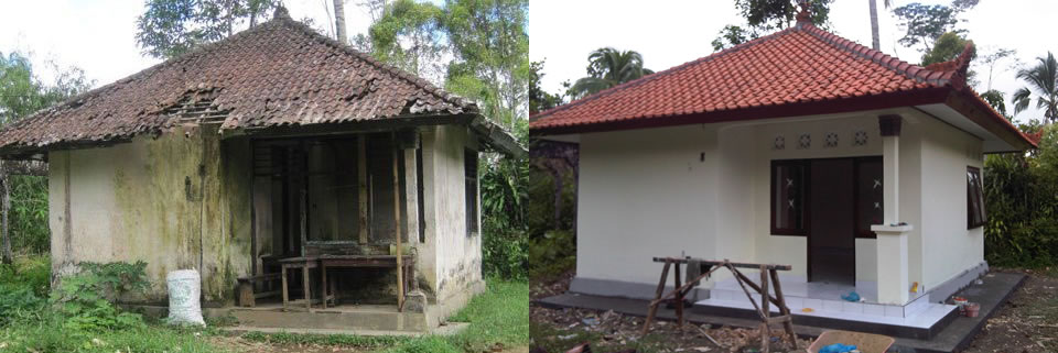 Before and after shots of the Balinese library